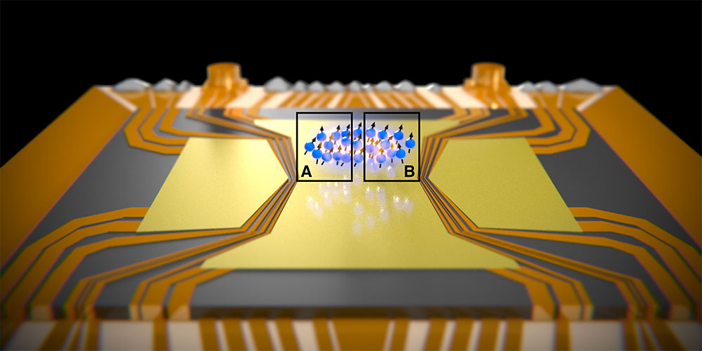 A cloud of atoms is held above a chip by electromagnetic fields. The EPR paradox was observed between the spatially separated regions A and B (Illustration: University of Basel, Department of Physics)