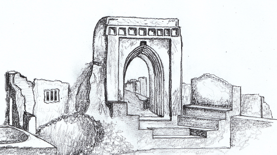 The main entrance gate of the Palace of Gedi (Sketch: Monika Baumanová, 2014)