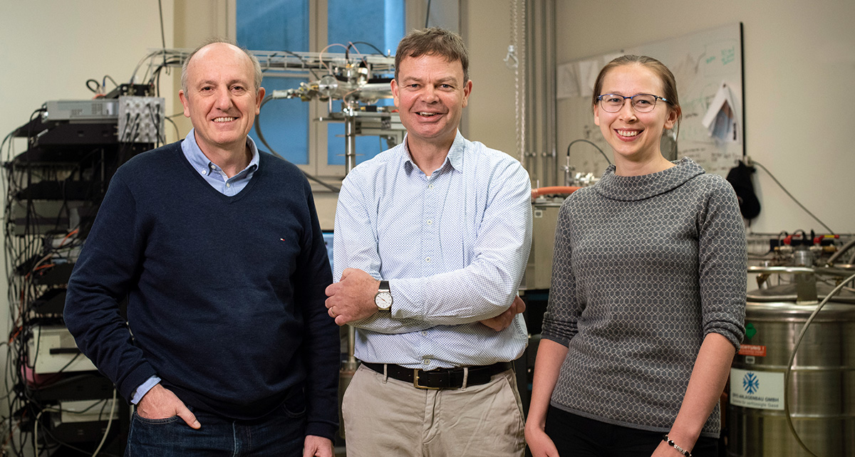 "The team of directors of the NCCR ""SPIN"": Prof. Daniel Loss (Co-Director), Prof. Richard J. Warburton (Director) and Prof. Jelena Klinovaja (Deputy Co-Director) (from left to right; not in the picture: Dr. Heike Riel, Deputy Director). Photo: © Christian Flierl, University of Basel."