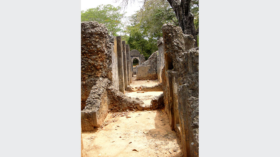 The ruins of the Palace of Gedi, Kenya. (Photo courtesy of the Zamani Project)