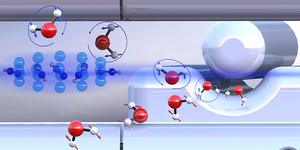 Pre-sorted ortho-water and para-water molecules with differently oriented nuclear spins (blue or red arrows) react with diazenylium ions (center left) at different speeds. (Illustration: University of Basel, Department of Chemistry)