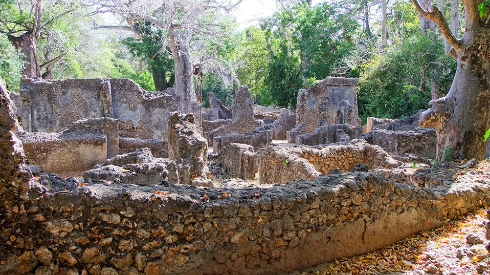 The stone structures were built between the 12th and 17th centuries. They include four mosques, numerous dwellings, tombs and the monumental building complex known as the Palace. (Photo courtesy of the Zamani Project)