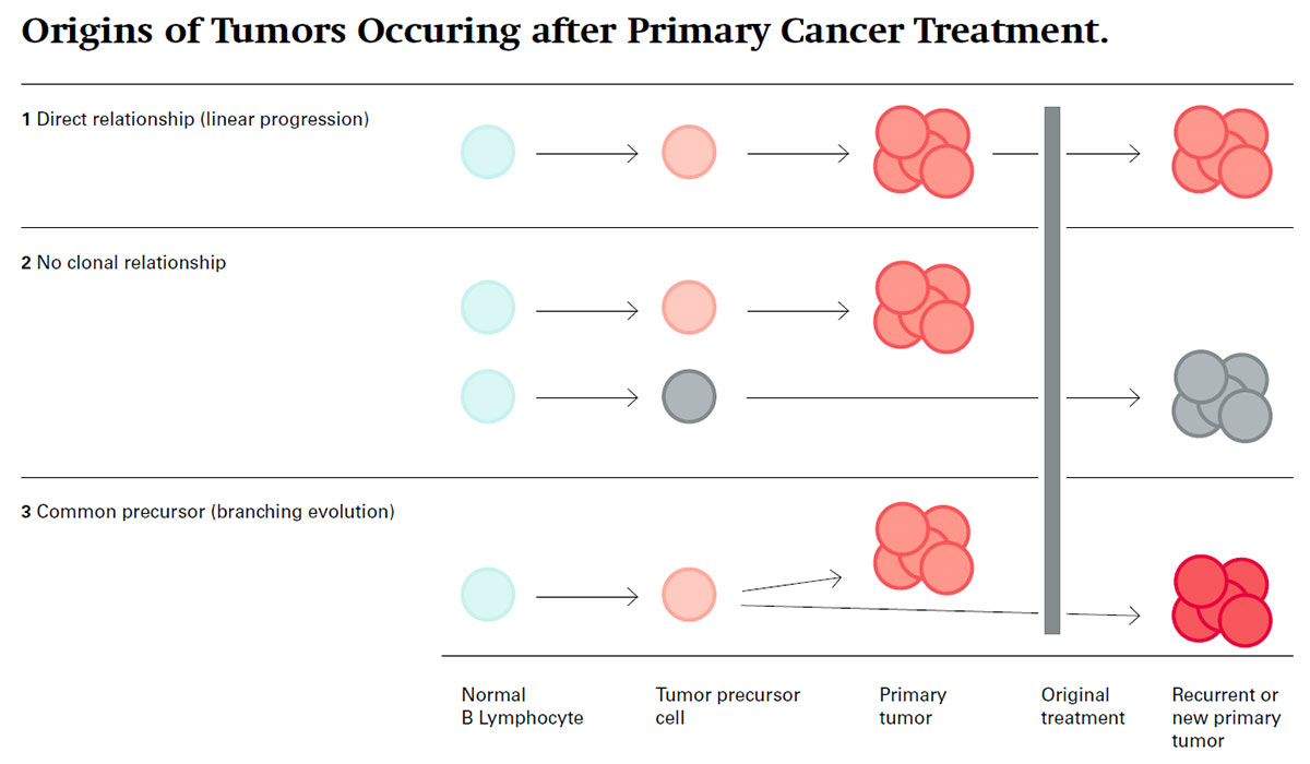 Treatment options differ depending on the relationship between primary and recurrent tumor.