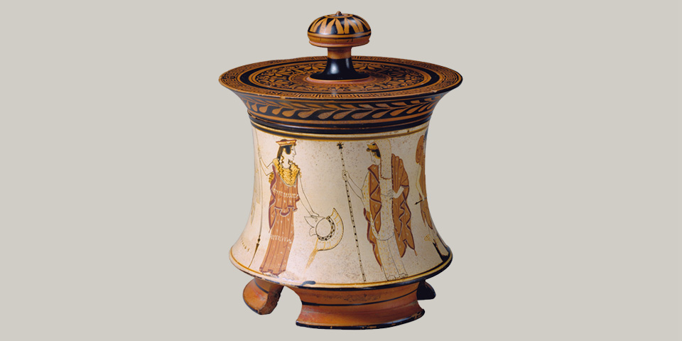 Image of a Terracotta pyxis attributed to the Penthesliea Painter from the classical Period ca. 465-460 before Christ