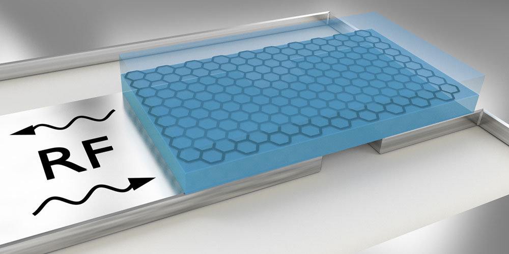 The layer of graphene (black honeycomb structure) encapsulated in boron nitride (blue) is placed on a superconductor (gray) and coupled with a microwave resonator. By comparing microwave signals (RF), the resistance and quantum capacitance of the embedded graphene can be determined. (Image: University of Basel, Department of Physics/Swiss Nanoscience Institute)