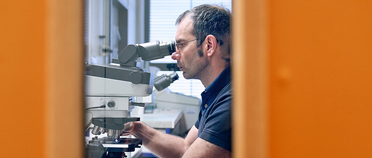 Alexandar Tzankov at a microscope