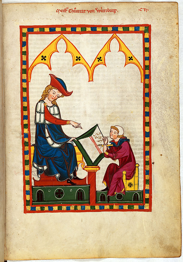 One of the most distinguisted poets of his time: Konrad von Würzburg (left) with a scribe. (image: Universitätsbibliothek Heidelberg, Grosse Heidelberger Liederhandschrift, Cod. Pal. germ. 848, page 383r).