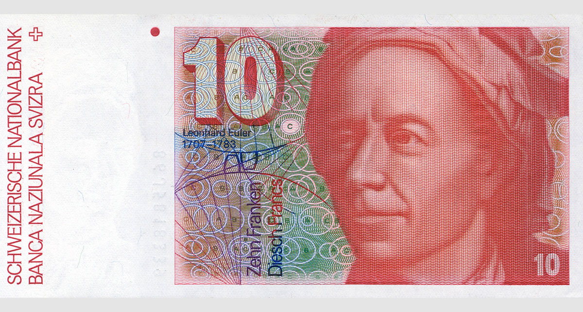 Leonhard Euler on the 10 Swiss francs banknote (1979).