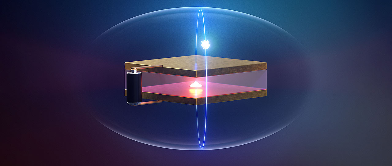 A microscopic cavity of two highly reflective mirrors is used to allow an enclosed artificial atom (known as a quantum dot) to interact with a single photon. A photon is emitted and reabsorbed up to 10 times by the quantum dot before it is lost. The quantum dot is electrically controlled within a semiconductor chip. (Image: University of Basel, Department of Physics)